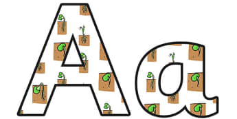 Growth Small Lowercase Display Lettering - growth, growth display lettering, growth display letters, growth themed display alphabet, growth themed a-z
