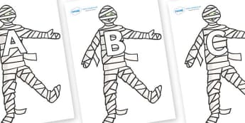 A-Z Alphabet on Mummy (Plain) - A-Z, A4, display, Alphabet frieze, Display letters, Letter posters, A-Z letters, Alphabet flashcards