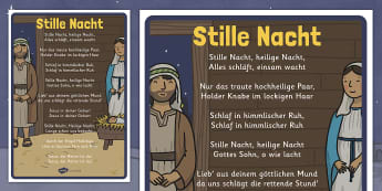Stille Nacht Christmas Carol Lyrics Poster - german, silent night, christmas, carol, lyrics, poster, display