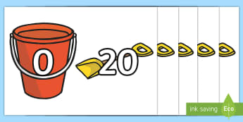 Bucket and Spade - - bucket and spade, seaside, beach, sandcastle, number bonds to 20, addition