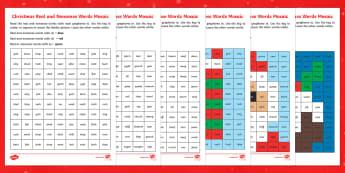 Christmas Phase 3 Phonics Mosaics - Christmas, phonics, phase 3, real and nonsense words, mosaic, santa, pudding, stocking, christmas ac
