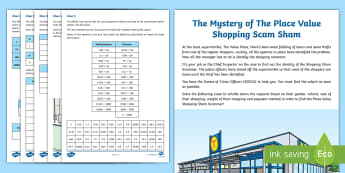 UKS2 The Mystery of the Place Value Shopping Scam Sham Maths Game - place value, columns, money, weight, multiply by 10 and 100, x100, x10, decimal place, decimal point