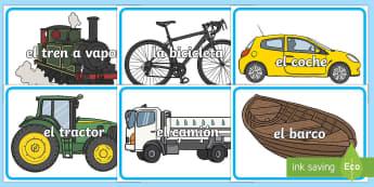 Transport Words on  Images Spanish - Spanish, Vocabulary, KS2, transport, words, images,Spanish