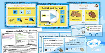 Computing: Microsoft Word Processing Skills: Select and Format Year 1 Lesson Pack 5