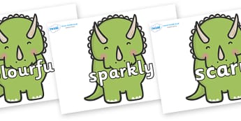 Wow Words on Triceratops Dinosaurs - Wow words, adjectives, VCOP, describing, Wow, display, poster, wow display, tasty, scary, ugly, beautiful, colourful sharp, bouncy