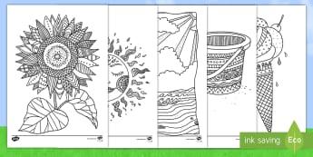Sommer Anmalbilder - Anmalen, Ausmalen, Malen, Malvorlage, Sommer, Sommerzeit, Sommerferien, Arbeitsblatt, Farben, farbig