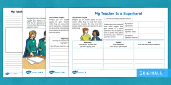 Our Teachers Are Superheroes Settings, Character and Plot Differentiated Writing Template - Settings, character, Plot, KS2, English, Fiction, Story Writing, Writing Activity, Plan, Planning