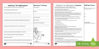 Exploring The Highwayman Reading Comprehension Activity - highwayman