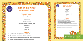 Fish in the Water Edible Sensory Recipe - EYFS Water, water cycle, rain, rivers, sea, oceans, fish, edible play, taste-safe, baby play