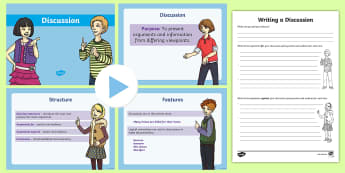 Discussion PowerPoint Pack - Discussion  PowerPoint, discussion features, stage two, writing, types of text discussion, arguments