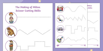 The Making of Milton Cutting Skills Activity Sheet - Twinkl Originals, Fiction, scissors, fine motor, skills, bravery, courage, pshce