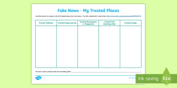 KS2 Fake News My Trusted Places Activity Sheet - Journalism, Satire, Internet Safety, Fact, Real News, worksheet