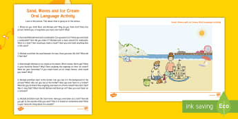 Sand, Waves and Ice Cream Oral Language Activity Sheet - seaside, aistear, exploring my world, story, funfair, beach, sandcastle, literacy, oral language, wo