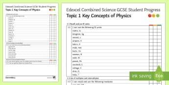 Edexcel Style Key Concepts of Physics KS4 Progress Sheet  - units, conversions, standard form, kilograms, hours