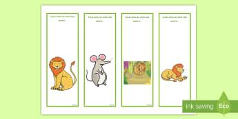 Leul și șoricelul Semne de carte editabile - esop, fabula, fabule, dezvoltare personală, relații, citire, lectură, Romanian