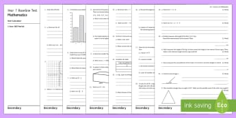 Year 7 Baseline Assessment Pack - Progress, testing, tracking, monitoring, formative