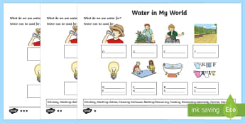 Water in My World Differentiated Activity Sheets - Science Water Resources, water, conservation, science, water usage,Australia
