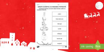 Moș Nicolae Fișă de punere în corespondență Cuvânt și imagine - Moș Nicolae, Sfântul Nicolae, sărbătoare, cuvinte, imagini, de colorat, Romanian
