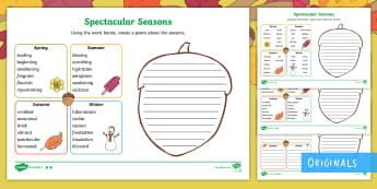 Little Acorns Spectacular Seasons Poetry Differentiated Activity Sheets - Autumn, Spring, Summer, Winter, key vocabulary, acorn, oak tree, poem, poems, writing, creative writ
