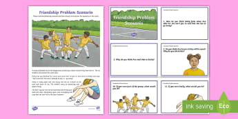 Friendship Problem Scenario and Questions Activity Sheet - transition, emotions, behaviour, PSHCE, change, anger, relationships, bullying