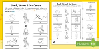 Sand, Waves and Ice Cream Money Comparing and Ordering Worksheet / Activity Sheet - coins, money, ROI, Comparing and Ordering, maths, exploring our world, aistear, Story, worksheet, Ir