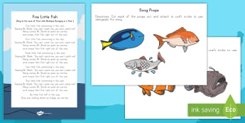 Five Little Fish Props and Song Lyrics - Habitats, Habitat, Ocean Habitat, Ocean, Ocean song, Ocean props.