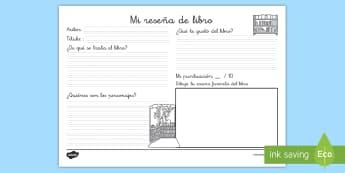 Ficha de actividad: Reseña de libro - ficha, ficha de actividad, reseña de libro, reseña, resumen, libro, libros, escritura, crítica de
