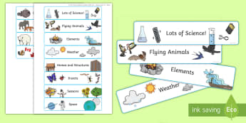 Science Book Labels - display, science books, kindergarten, classroom, organisation, exercise books, labels