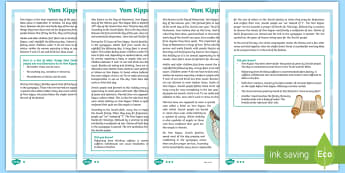 Yom Kippur  Differentiated Fact File -  RE, comprehension, differentiated, religion, Yom Kippur, Jewish, Judaism, Jew, Day of Atonement, Se