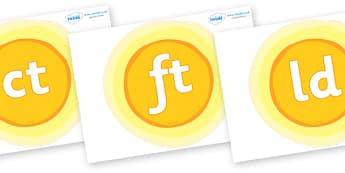 Final Letter Blends on Suns - Final Letters, final letter, letter blend, letter blends, consonant, consonants, digraph, trigraph, literacy, alphabet, letters, foundation stage literacy