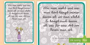 Was man sieht Motivierendes Poster für die Klassenraumgestaltung - Motivitation, Inspiration, Lernen, Lesen, Kommunikation,,German