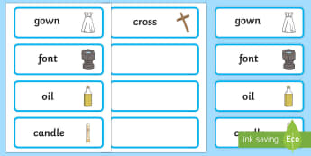 Baptism Symbols Word Cards