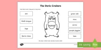 Doric Reid Craiter Activity Sheet - worksheet, Scots, 1+2 Languages, Scots Dialect, Scotland, Aberdeen,Scottish