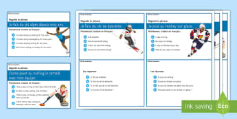 Winter Olympics Challenge Cards French - speaking, translate, tenses, frequency, sports, free, time,French