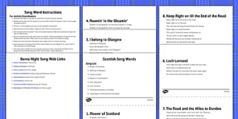 Burns Night Song Activity and Instructions Pack - Elderly, Reminiscence, Care Homes, Burns' Night