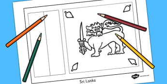 Sri Lanka Flag Colouring Sheet - countries, geography, flags