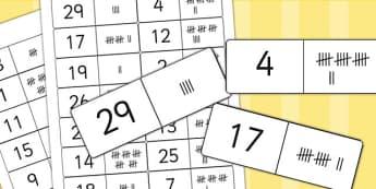 Tally Mark Dominoes to 30 - numeracy, data handling, tally, games