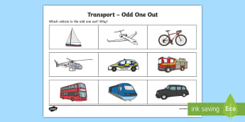 Transport Odd One Out Activity Sheet - Odd One Out,different, spot the difference, describe, description, Worksheet, difference, between, c