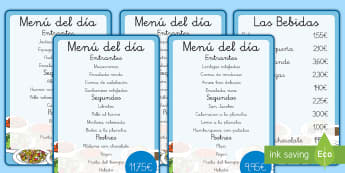 Carta de juego de rol: El restaurante-Spanish - comer sano, comida sana, comer saludable, comida saludable, fruta, verdura, dieta saludable, dieta s - comer sano, comida sana, comer saludable, comida saludable, fruta, verdura, dieta saludable, dieta