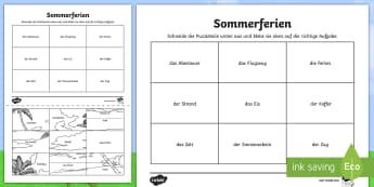 Holiday Words Picture  Activity - German   - Holiday, Summer, German, MFL, Vocabulary, Sommer, Ferien