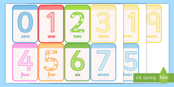 Numbers 0-20 Flashcards Flashcards  - number, maths, numeracy, count, numbes, numbes 0-20, nubers, numracy, flashards, flascards