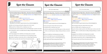 Spot the Clauses Differentiated Worksheet / Activity Sheet Pack - GPS, spelling, grammar, clause, worksheet