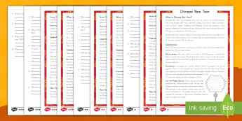 Chinese New Year Differentiated Reading Comprehension Activity - Chinese, New Year, differentiated, reading comprehension, non-fiction, around the world, cultural ce