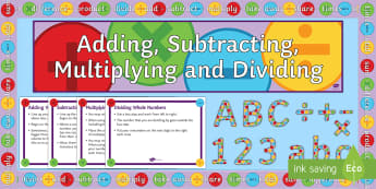 KS3 Half Term 1 The Four Operations Scheme of Work Display Pack  - Add, Subtract, Divide, Multiply, Decimals, Negatvie, Whole, Integers