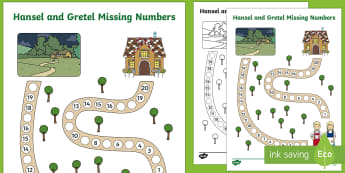 Hansel and Gretel Missing Number Path Worksheet - missing number
