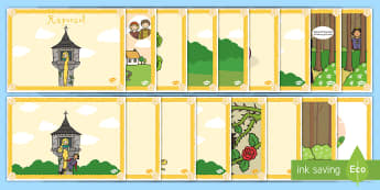 Rapunzel Story Sequencing (Speech Bubbles) - Rapunzel, sequencing, prince, witch, tower, long hair, fairytale, traditional tale, Brothers Grimm, tower, woods, forest, prince, let down your hair, story, story sequencing
