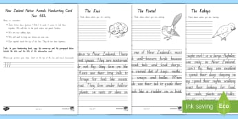 Native New Zealand Animals Handwriting Year 3&4 Activity Sheets - Worksheets, New Zealand handwriting, handwriting cards, handwriting practice, year 3 handwriting, ye