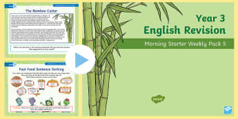 Year 3 English Revision Morning Starter Weekly PowerPoint Pack 5 - KS2 English Assessment Materials, KS2, assess, review, moderate, track, english, literacy, reading,