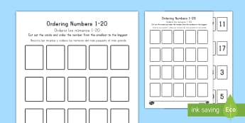 Ordering Numbers Game 1 to 20 US English/Spanish (Latin) - Ordering Numbers Game 1 to 20 - order, number, maths, activity, numbes, nubers, matsh, seriation, wo