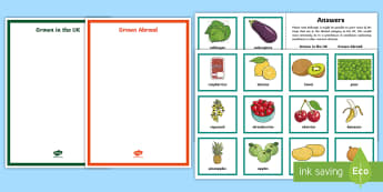 Food Grown in the UK or Abroad Sorting Cards - Food miles, HWB 2-35a, Imports, Sustainability, home grown,Scottish